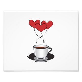 Coffee Cup, Balloons, Hearts - Red White Black Photo
