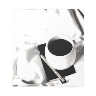Coffee Cup Black and White Breakfast in Bed Notepad