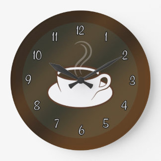 Coffee Cup Cafe Coffee Shop Large Round Wall Clock