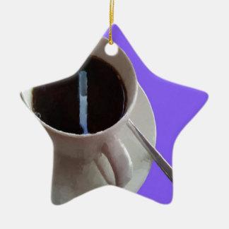 Coffee Cup Ceramic Star Decoration