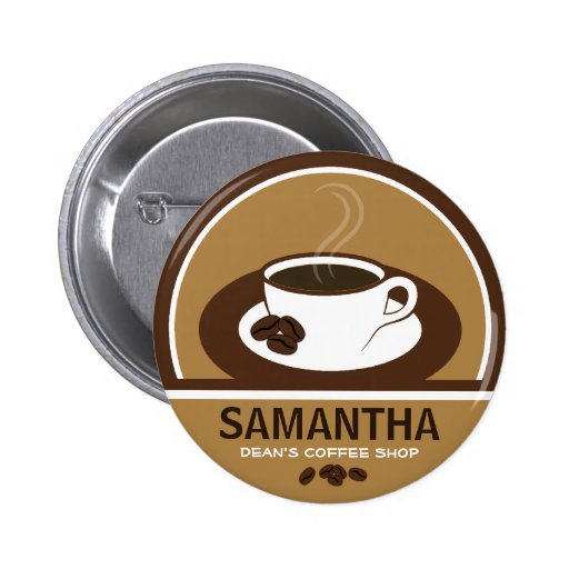 Coffee Cup Coffee Shop Cafe Staff ID Name Tags Pins