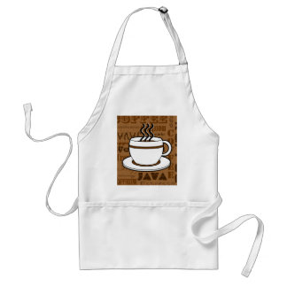 Coffee Cup - Coffee Words Print - Brown Standard Apron
