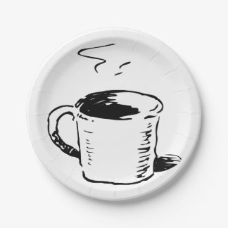 Coffee Cup Illustration Paper Plates 7 Inch Paper Plate