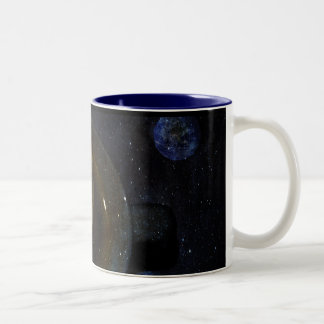 Coffee Cup in Space Two-Tone Mug