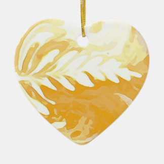 Coffee cup Leaves of Cream Ceramic Heart Decoration