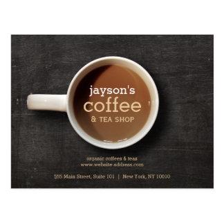 Coffee Cup on Black Wood Coffee Shop Postcard