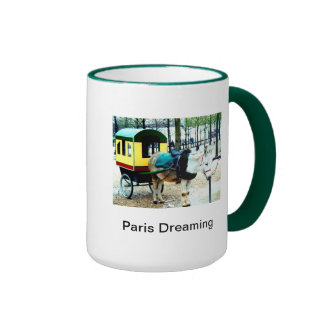 Coffee Cup Paris Dreaming  Image and Poem Ringer Mug
