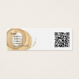 Coffee Cup Stain w/ QR Code Mini Business Card