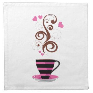 Coffee Cup, Swirls, Hearts - Pink Black Brown Napkin
