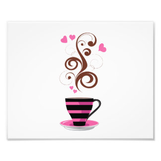 Coffee Cup, Swirls, Hearts - Pink Black Brown Photo Print