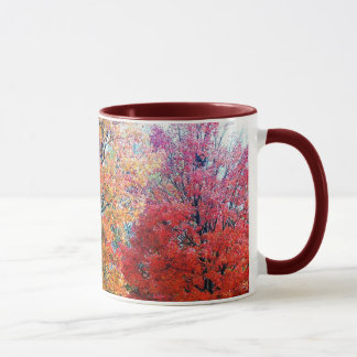 Coffee Cup With Blooming Trees.