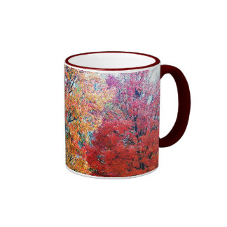 Coffee Cup With Blooming Trees. Ringer Mug