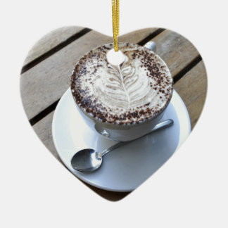 Coffee cup with cream ceramic heart decoration