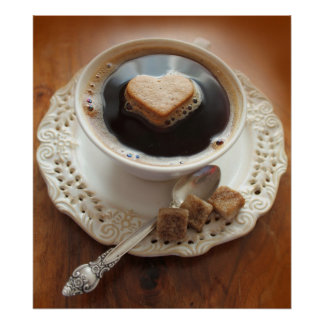 Coffee cup with heart poster