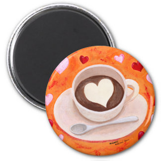 Coffee Cup with Hearts Magnet