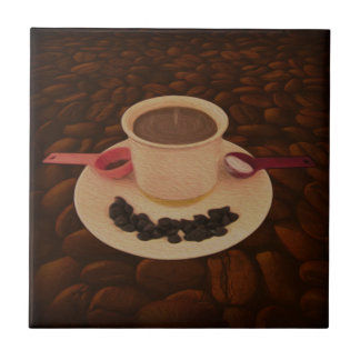Coffee Cup with Morsels of Dark Chocolate Tile