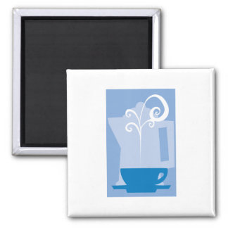 Coffee Cup with Steam Square Magnet