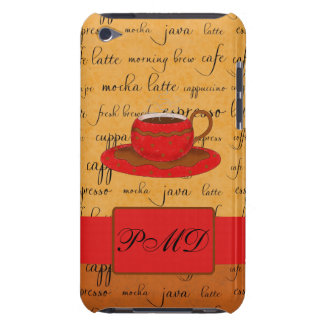 Coffee Cup & Words Gold, Brown & Red Monogrammed Barely There iPod Covers