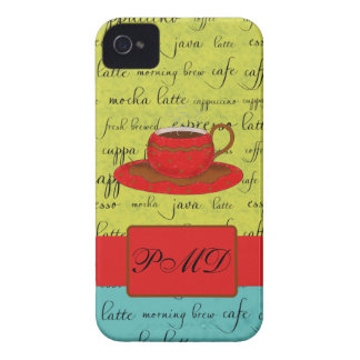 Coffee Cup Words Green, Turquoise  & Red Monogram iPhone 4 Case-Mate Cases