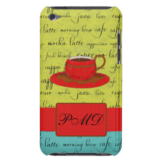 Coffee Cup Words Green, Turquoise  & Red Monogram iPod Touch Cover