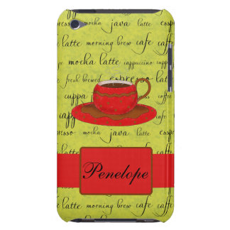 Coffee Cup & Words Lime Green  & Red Monogrammed iPod Case-Mate Case