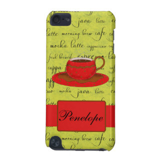 Coffee Cup Words Lime Green Red Monogrammed Name iPod Touch (5th Generation) Cover