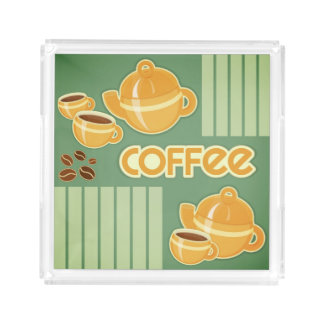 Coffee Cups, Coffee Pot And Coffee Beans Acrylic Tray