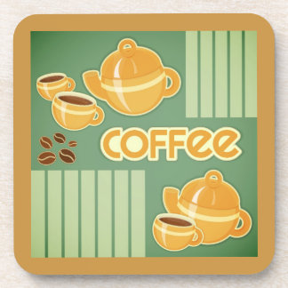 Coffee Cups, Coffee Pot And Coffee Beans Drink Coasters