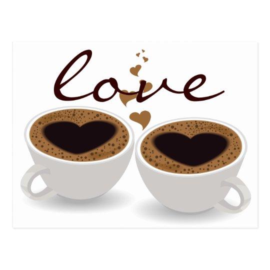 Coffee Cups Couple Hearts and Love Postcard