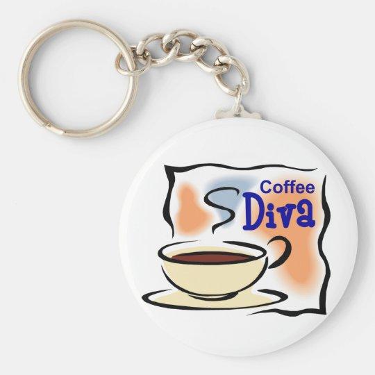 Coffee Diva Basic Round Button Key Ring