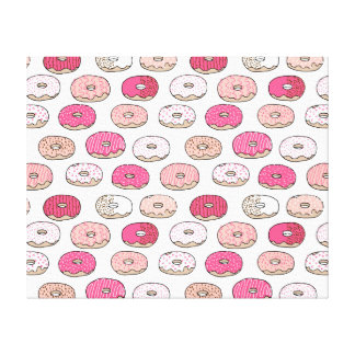 Coffee Donut Sweets Pink Pastel / Andrea Lauren Stretched Canvas Print