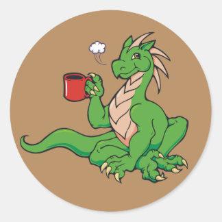 Coffee Dragon Classic Round Sticker
