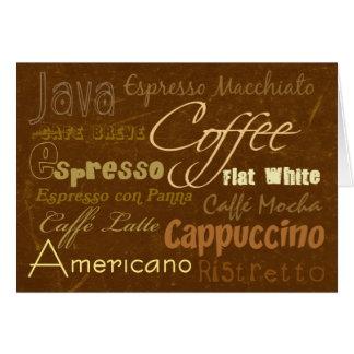 Coffee Drinks Greeting Card