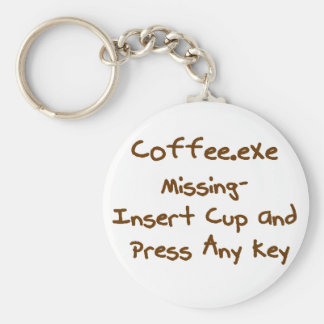 Coffee.exe missing, geek and computer humour basic round button key ring