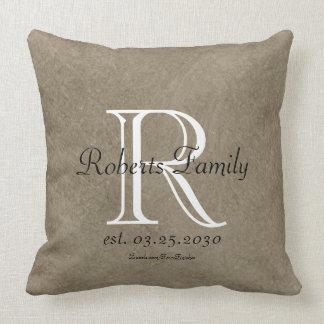 Coffee Faux Leather Monogram Anniversary Cushion