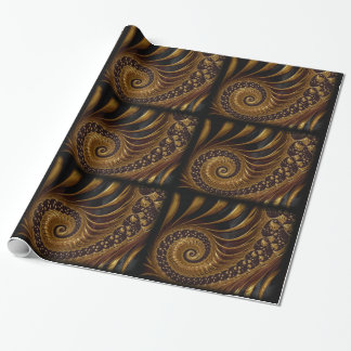coffee feathers fractal wrapping paper