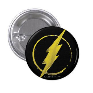 Coffee Flash Symbol - Yellow 3 Cm Round Badge