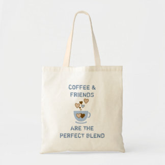 Coffee & Friends blue cup / hearts tote bag