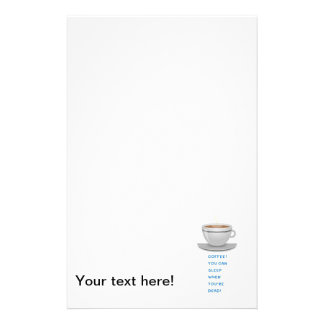 Coffee funny text personalised stationery