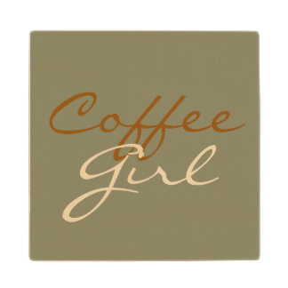 COFFEE GIRL WOODEN COASTER MAPLE WOOD COASTER