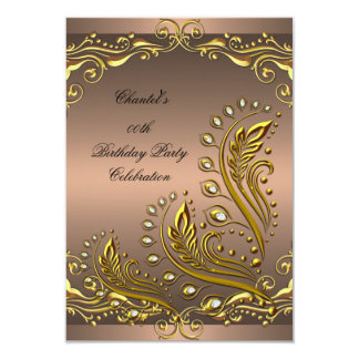 Coffee Gold Any Age Elegant Birthday Party Floral Personalized Invite