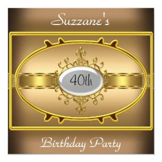 "Coffee Gold  Birthday Party Caramel Invitation 5.25"" Square Invitation Card"