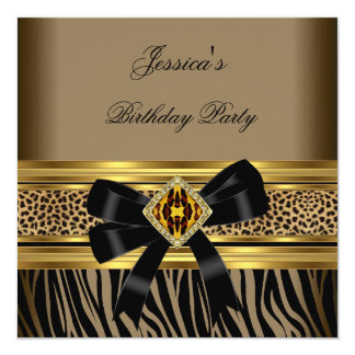 Coffee Gold Black Leopard Zebra Birthday Party 13 Cm X 13 Cm Square Invitation Card