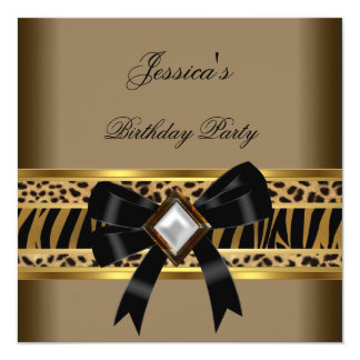 Coffee Gold Black Leopard Zebra Birthday Party Card