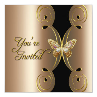 Coffee Gold Butterfly Elegant Birthday Party 13 Cm X 13 Cm Square Invitation Card