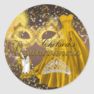 Coffee & Gold Mask Masquerade Quinceanera Sticker