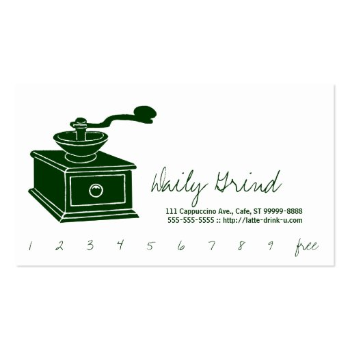 Coffee Grinder / Loyalty Punch Business Card Templates