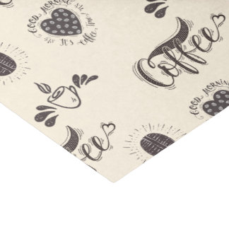 Coffee hand lettering doodle design, brown coffee tissue paper