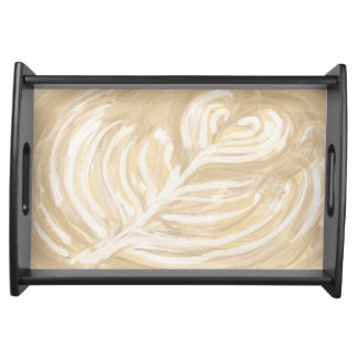 coffee heart art serving tray