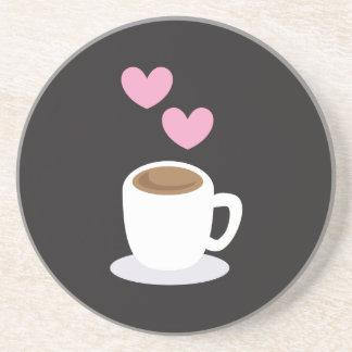 Coffee Hearts on black Coaster